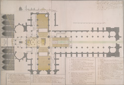 Plan of the scaffolding as it was erected in the Abby [sic] for the coronation of King George the Second and Queen Caroline, 1727